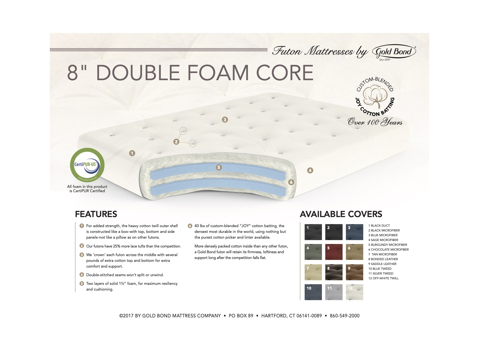 8 double foam futon